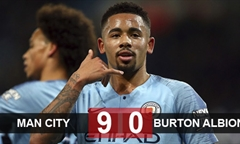 Video bóng đá League Cup: Man City 9-0 Burton