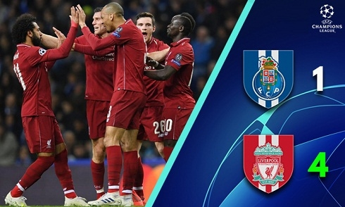 Video bóng đá Champions League: Porto 1-4 Liverpool